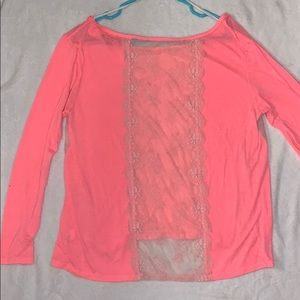 American Eagle pink lace long sleeve